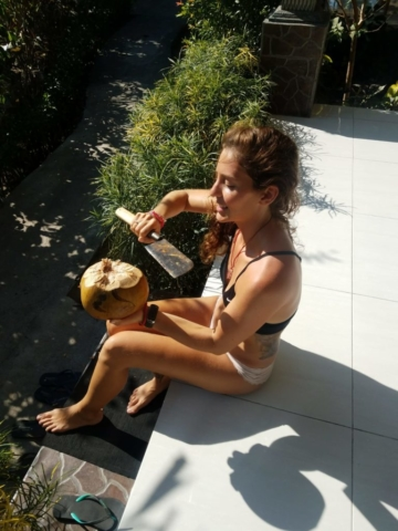 Cutting open coconuts in my underwear on a hot afternoon. Perfection