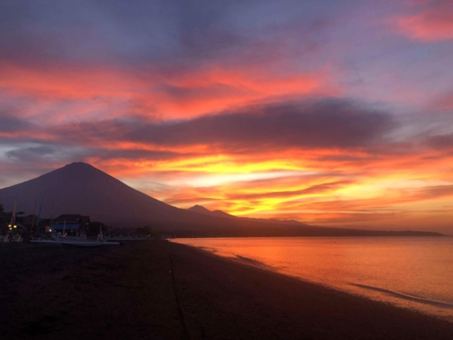Beautiful sunset in Amed Bali