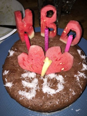Delicious chocolate birthday cake from Blue Earth Village in Amed, Bali