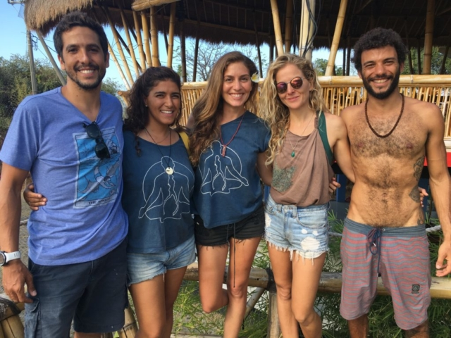 Interns and instructor from Apneista at Blue Earth Village in Amed Bali