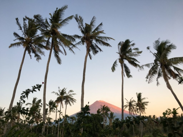 Beautiful sunrise over Mt. Agung in Amed Bali