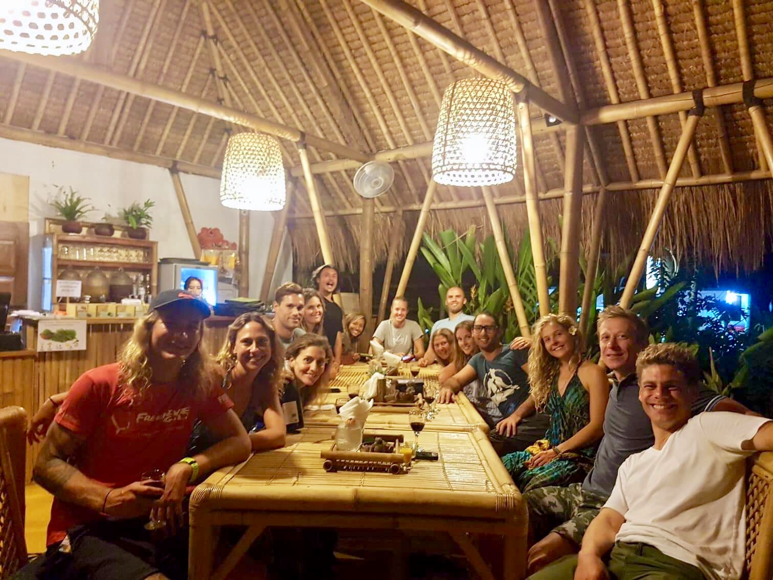 Group dinner at Galanga restaurant in Amed Bali