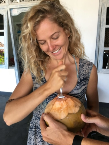 Fresh coconut after the dive